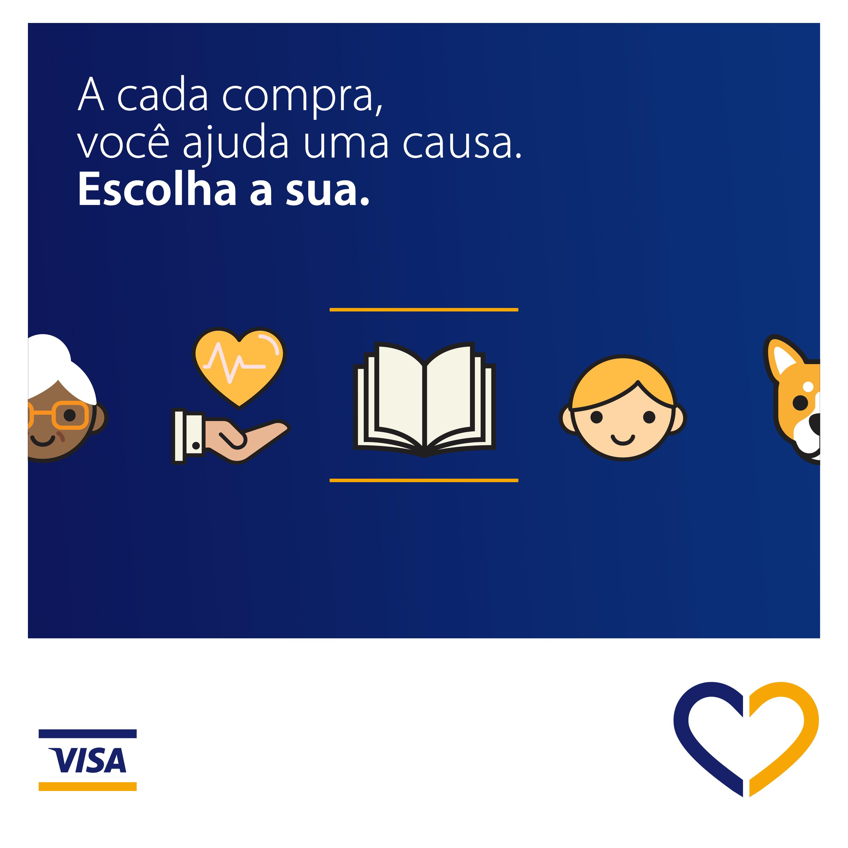 Ícones das causas sociais apoiadas pelo Programa Visa Causas