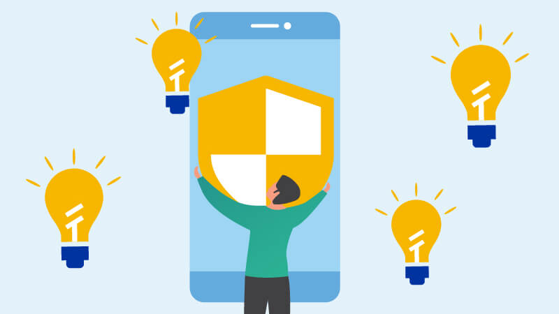 Illustration of a male placing a shield in an oversized mobile phone surrounded by four light bulbs.