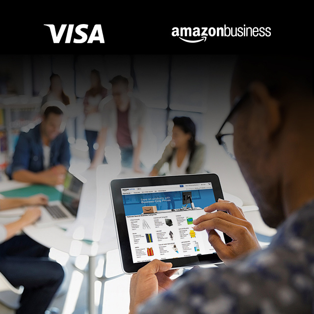 Composite: Visa and Amazon Business logos and a man looking at the Amazon Business website on a tablet.