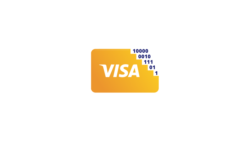 Illustration of a Visa card with binary code at the top right corner.