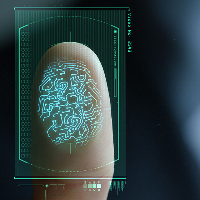 Fingerprint biometric scan.