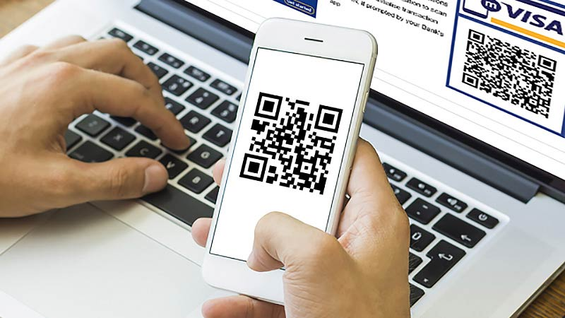 Checking QR code on mobile device