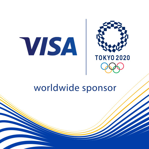 Visa and Olympic Games Tokyo 2020 logo with graphic wave.